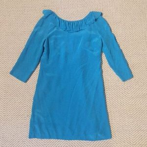 Tibi turquoise silk open back dress